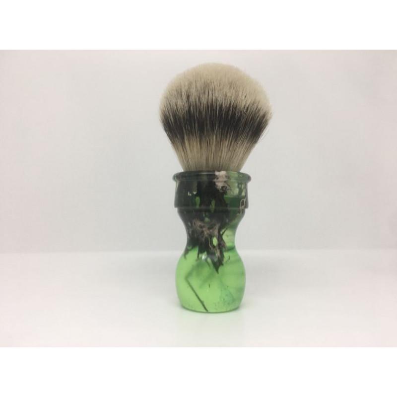 pennello resina verde silvertip realizzato a mano